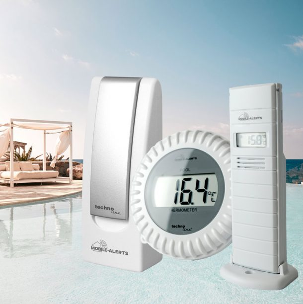 Smart pool thermometer with external sensor, network gateway and IOS, Android app